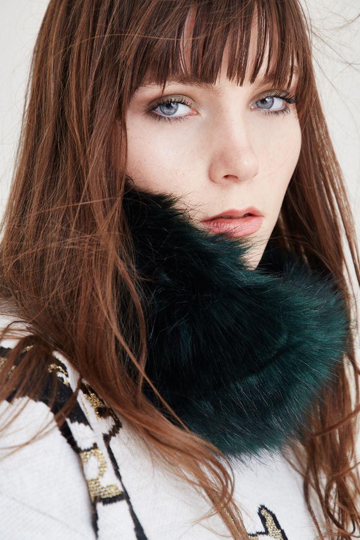 Bayan Yeşil Kürk Boyunluk ve Saç Bandı