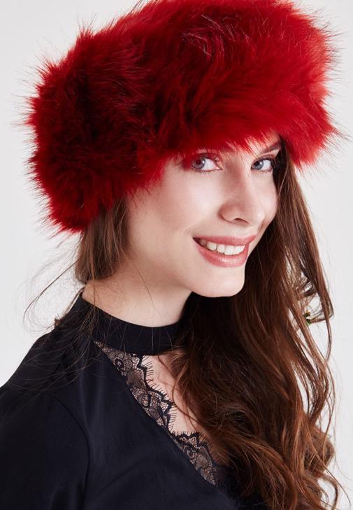 Kırmızı Kürk Boyunluk ve Saç Bandı