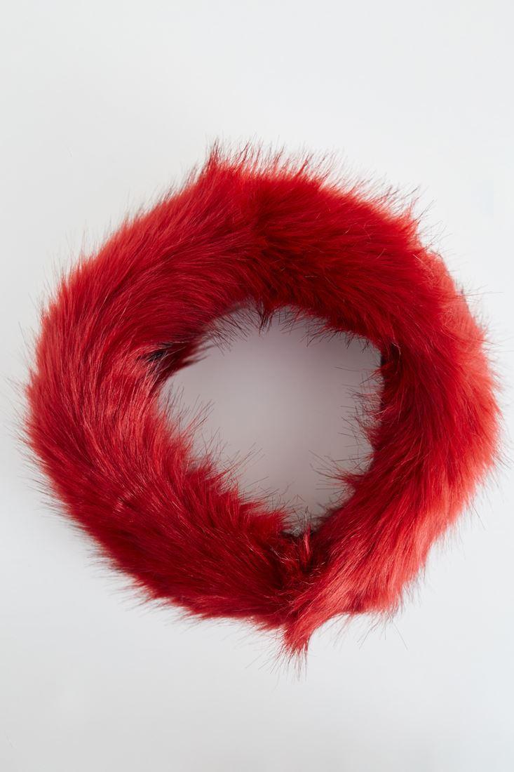 Bayan Kırmızı Kürk Boyunluk ve Saç Bandı