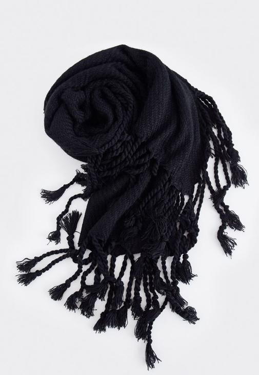 Siyah Püsküllü Kalın Şal