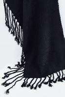 Bayan Siyah Püsküllü Kalın Şal