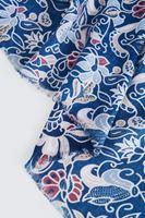 Bayan Mavi Çiçek Desenli Şal