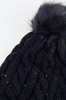 Bayan Siyah Ponponlu Detaylı Örgü Bere