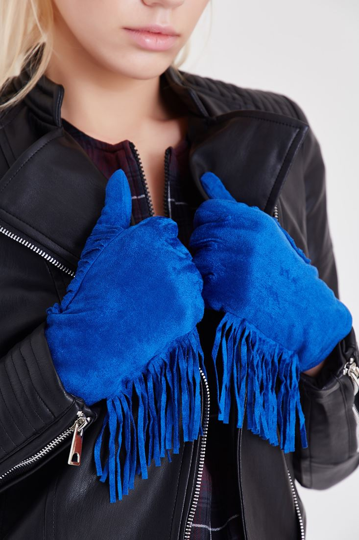 Blue Tasseled Gloves
