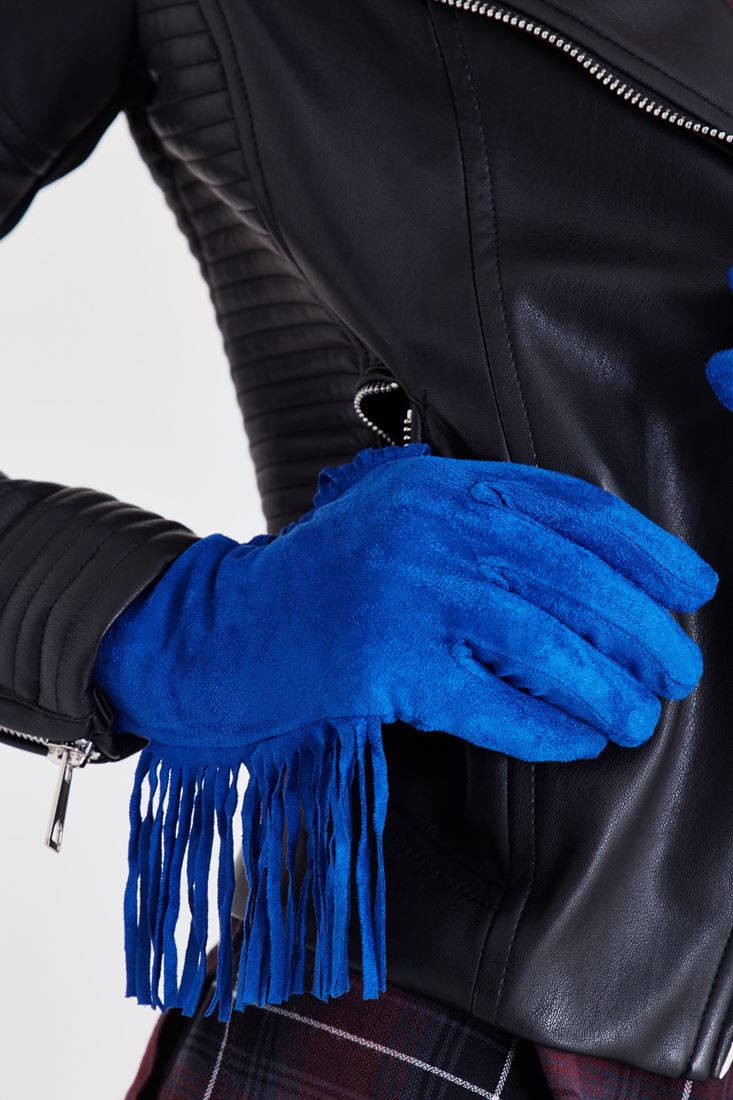Bayan Mavi Püsküllü Eldiven