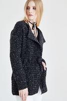 Bayan Siyah Beli Bağcıklı Ceket