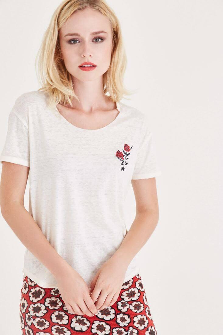 Bayan Krem Çiçek Baskılı Tişört