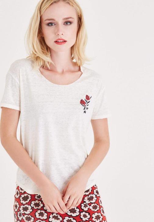 Krem Çiçek Baskılı Tişört