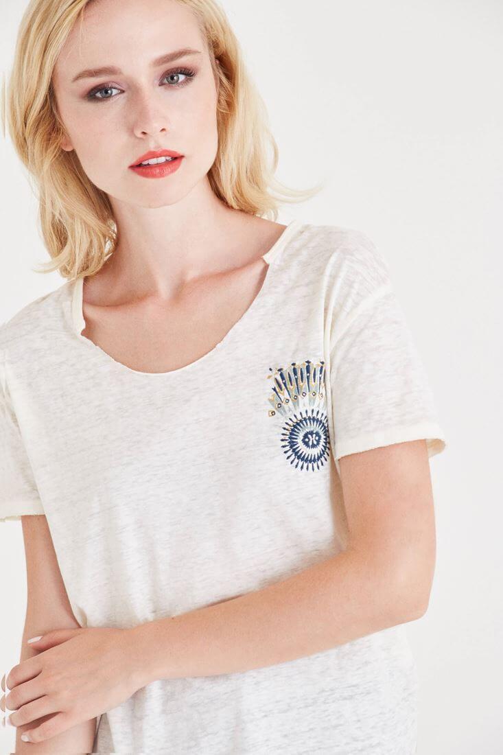 Bayan Krem Baskılı Tişört