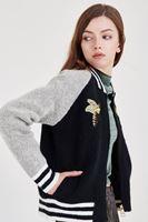 Bayan Çok Renkli Nakışlı Örgü Bomber Ceket