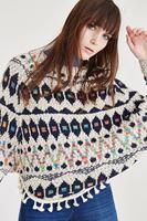 Bayan Çok Renkli Desenli Kazak