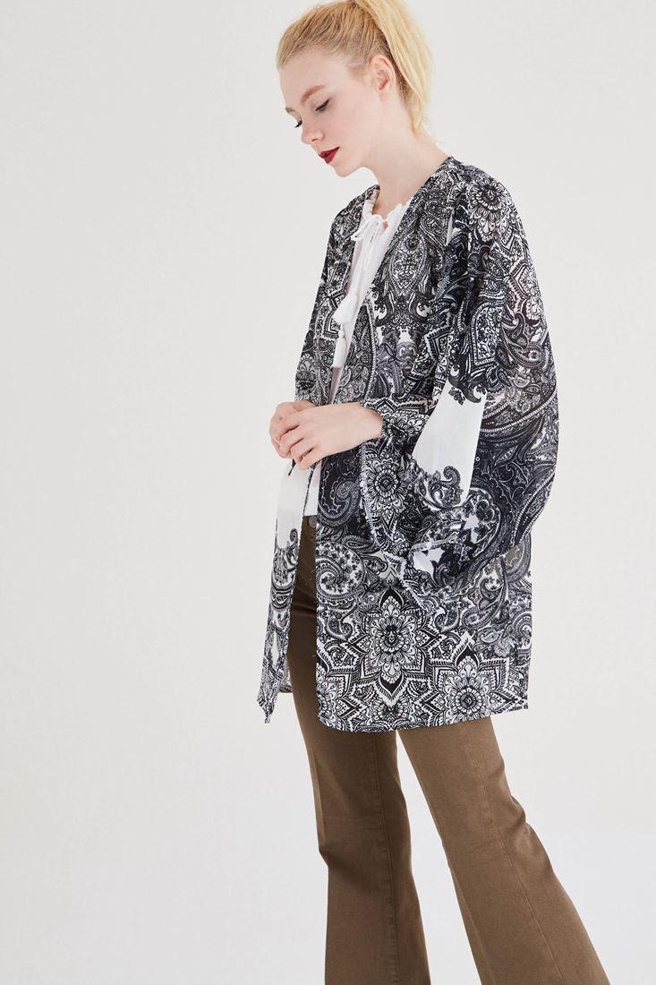 Siyah Etnik Desenli Kimono