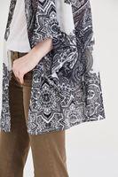 Bayan Siyah Etnik Desenli Kimono