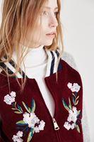 Bayan Çok Renkli Çiçek Detaylı Bomber Ceket