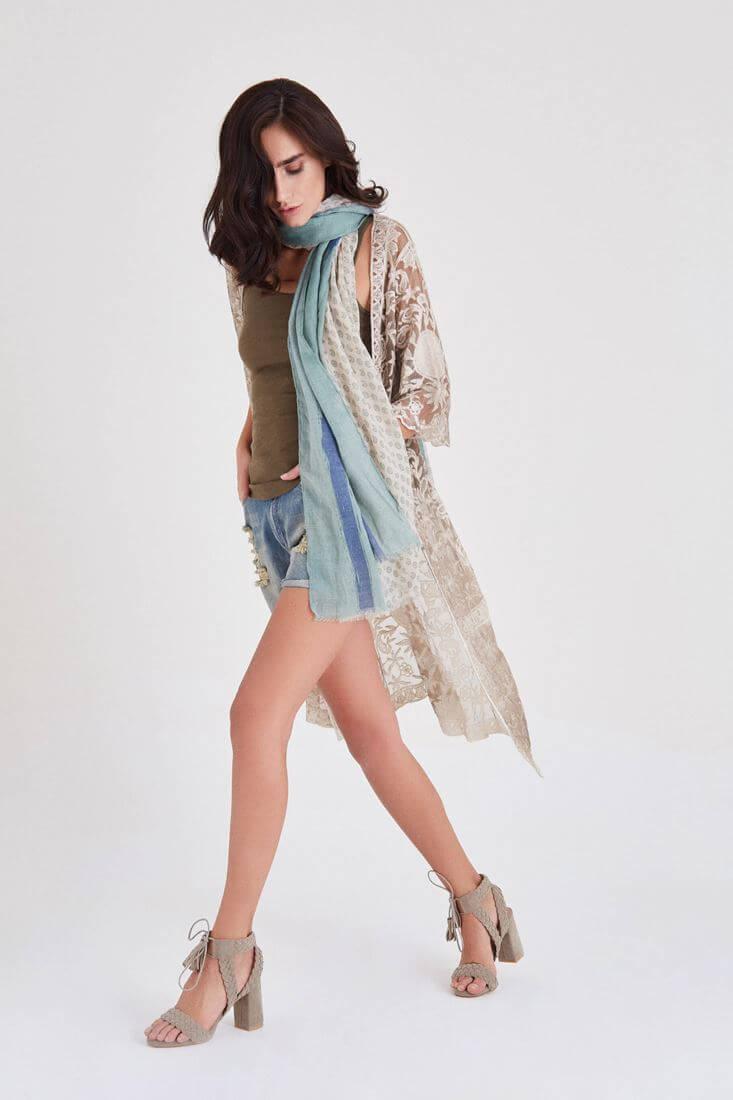 Bayan Kahverengi Uzun Dantel Kimono