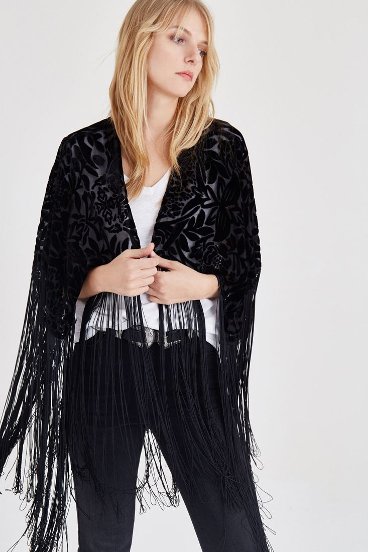 Bayan Siyah Püsküllü Kimono