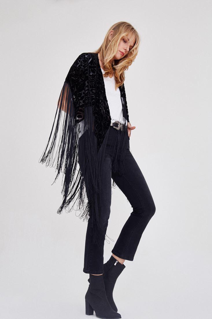 Women Black Tasseled Kimono