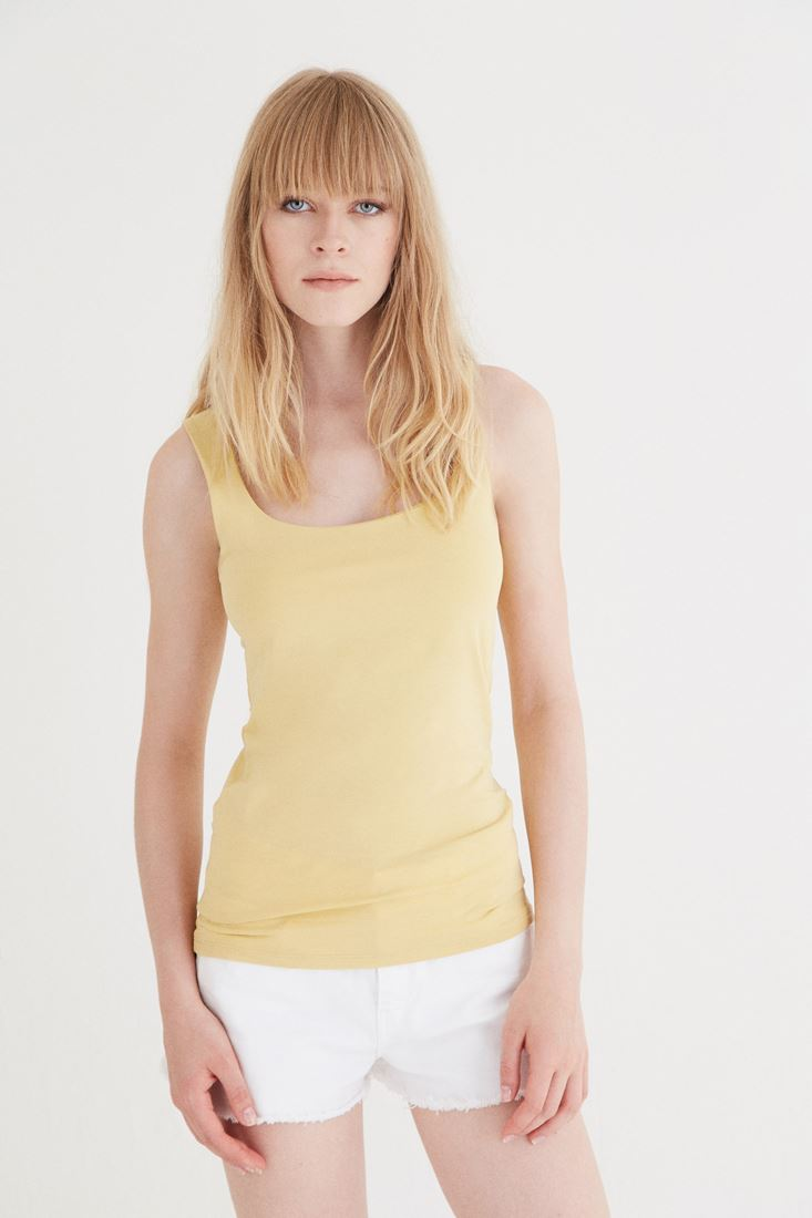 Yellow Sweetheart Neck Tank