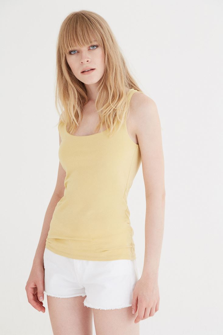 Bayan Sarı Kare Yaka Atlet