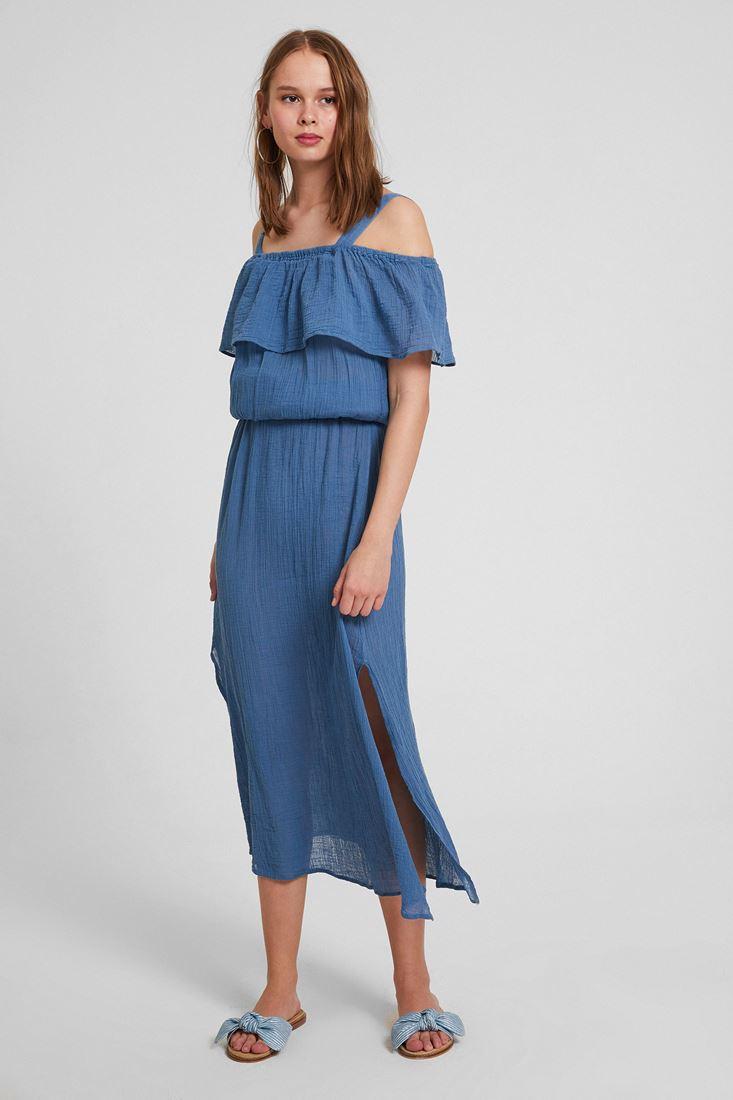 Mavi Omuz Detaylı Elbise