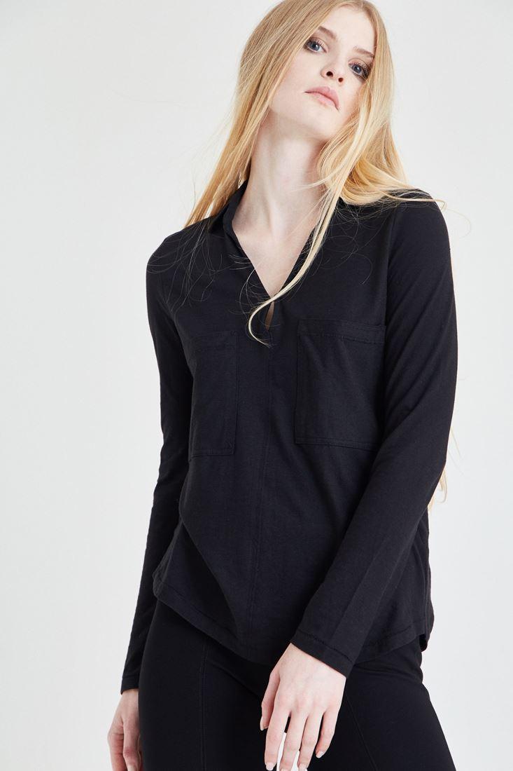 Bayan Siyah Pamuklu Gömlek