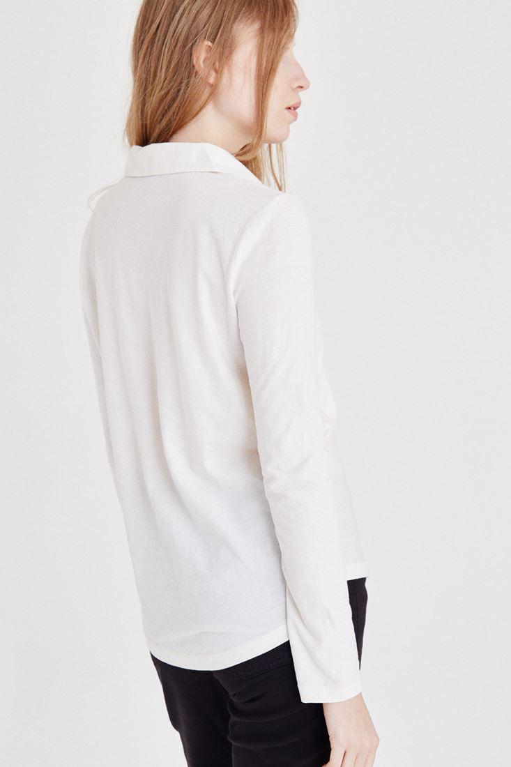 Bayan Krem Pamuklu Gömlek