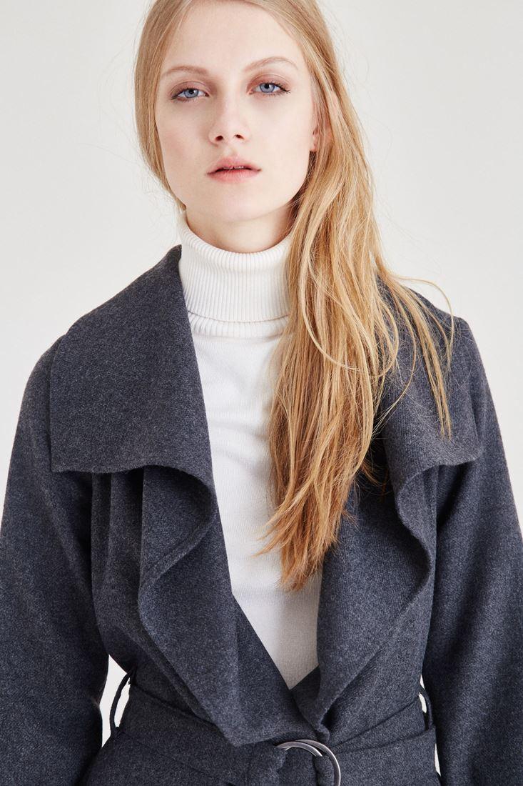 Bayan Gri Kemer Detaylı Ceket