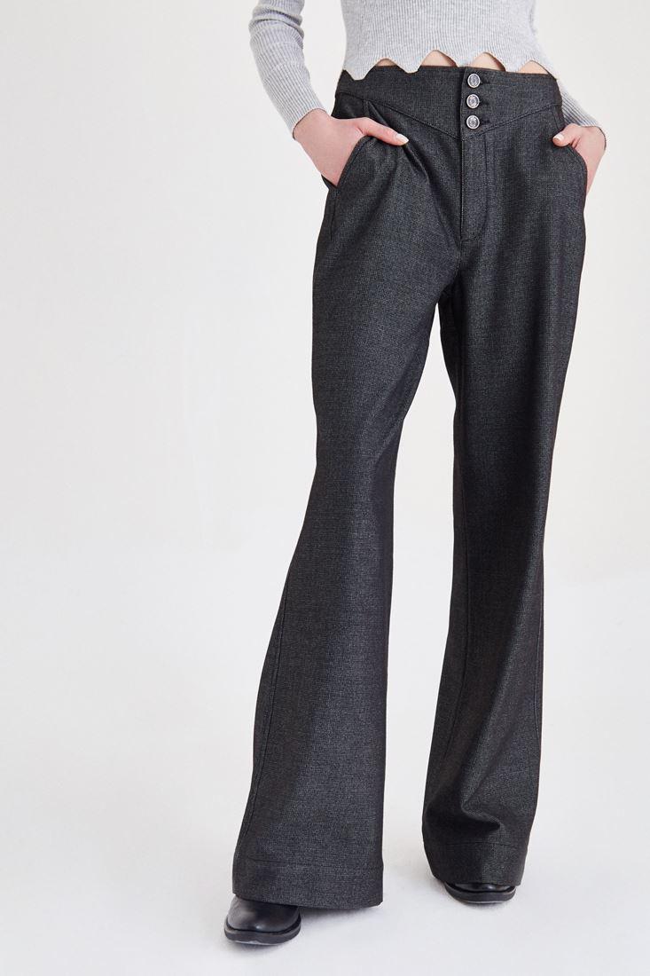 Bayan Gri Düğmeli Bol Kesim Pantolon