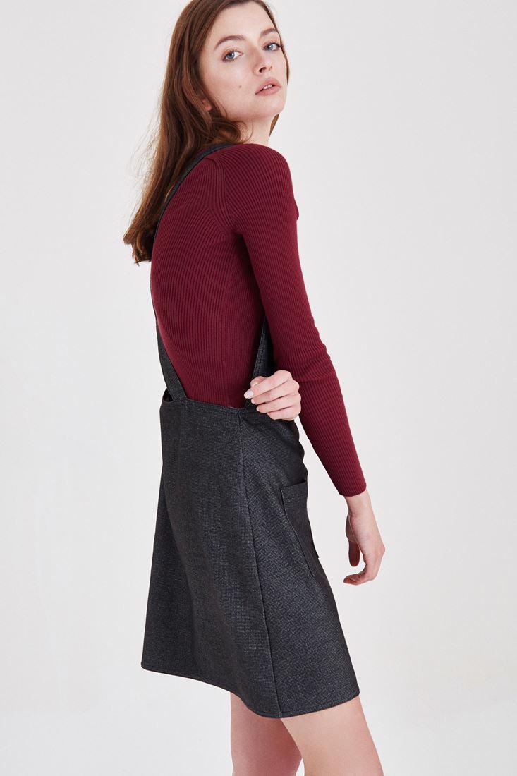 Bayan Gri Mini Elbise