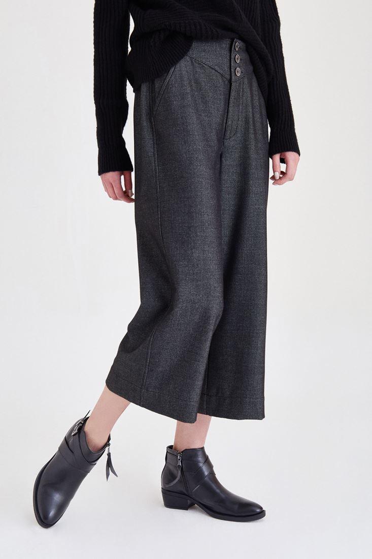 Bayan Gri Düğmeli Kısa Pantolon