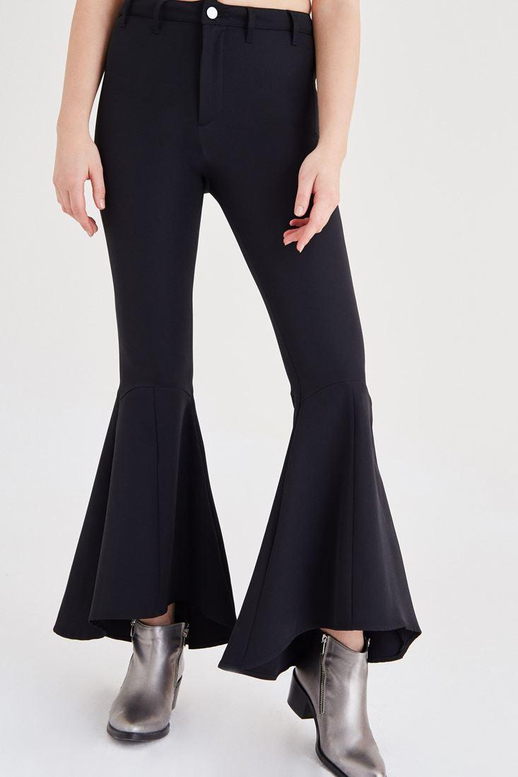 Bayan Siyah İspanyol Paça Kumaş Pantolon