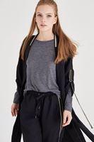 Bayan Siyah Uzun Yırtmaçlı Bomber Ceket