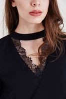 Bayan Siyah Dantelli Bluz