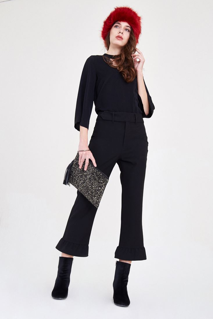 Black Pants With Ruffle Detailed