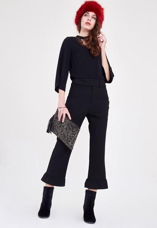 Siyah Fırfırlı Pantolon