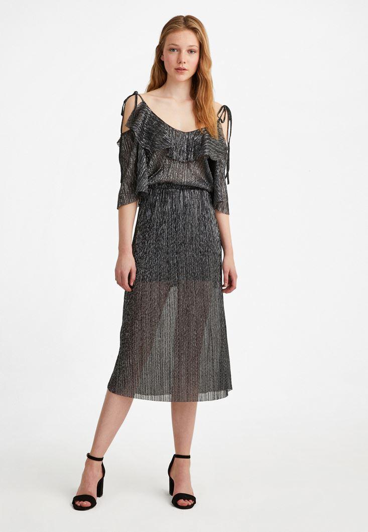 Bayan Siyah Simli Pileli Elbise