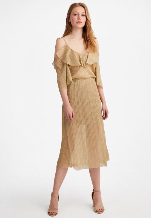 Altın Simli Pileli Elbise