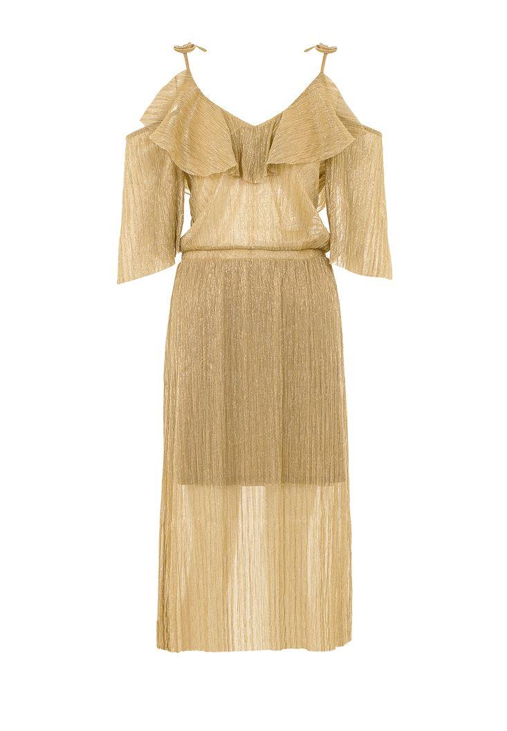 Bayan Altın Simli Pileli Elbise
