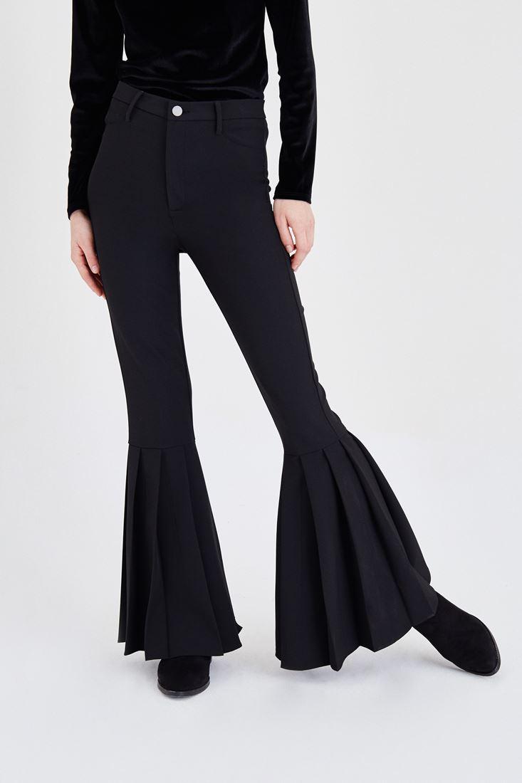Bayan Siyah Pileli İspanyol Paça Pantolon