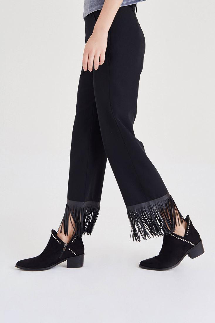 Bayan Siyah Püskül Detaylı Pantolon