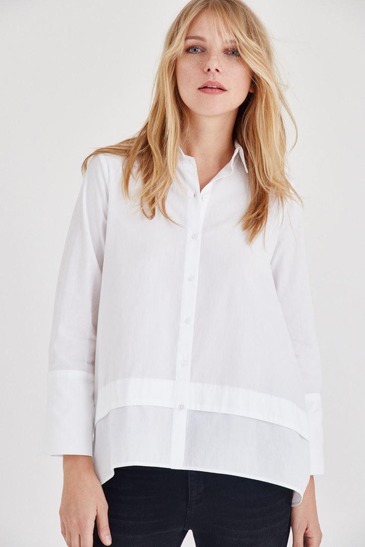 Beyaz Geniş Manşetli Gömlek