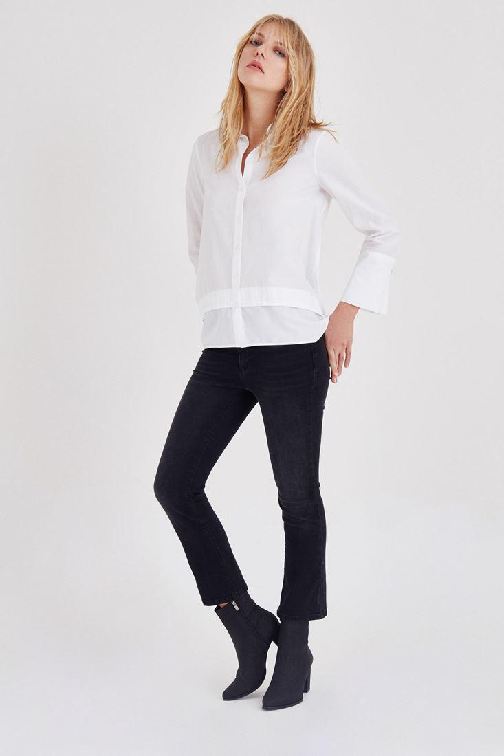 Bayan Beyaz Geniş Manşetli Gömlek