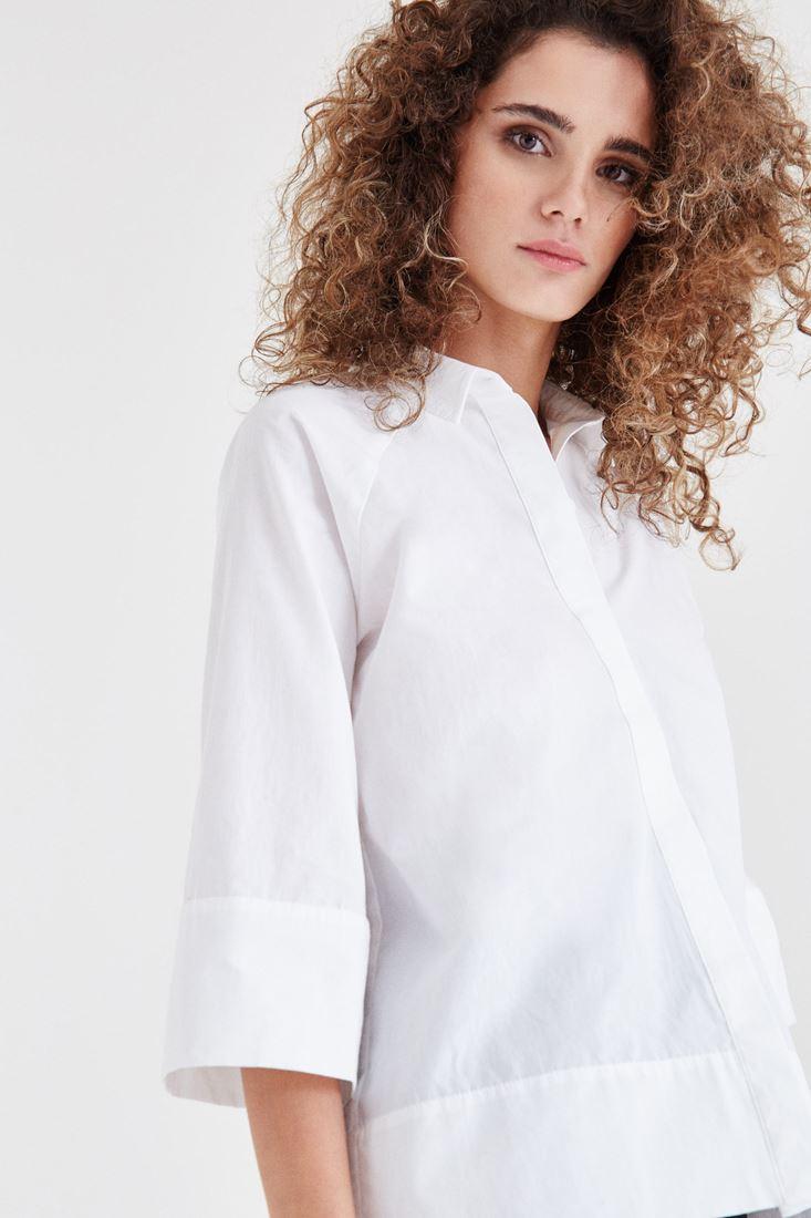 Bayan Beyaz Pamuk Gömlek