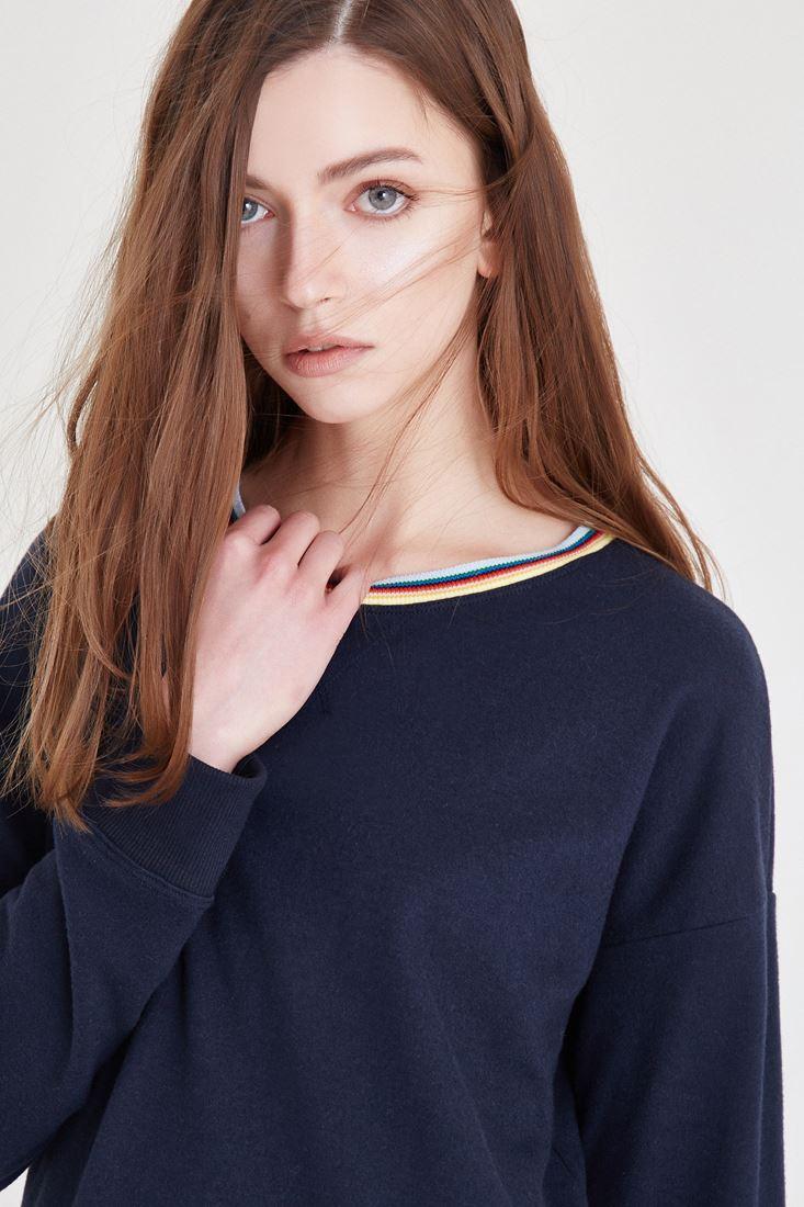 Lacivert Yaka Detaylı Sweatshirt