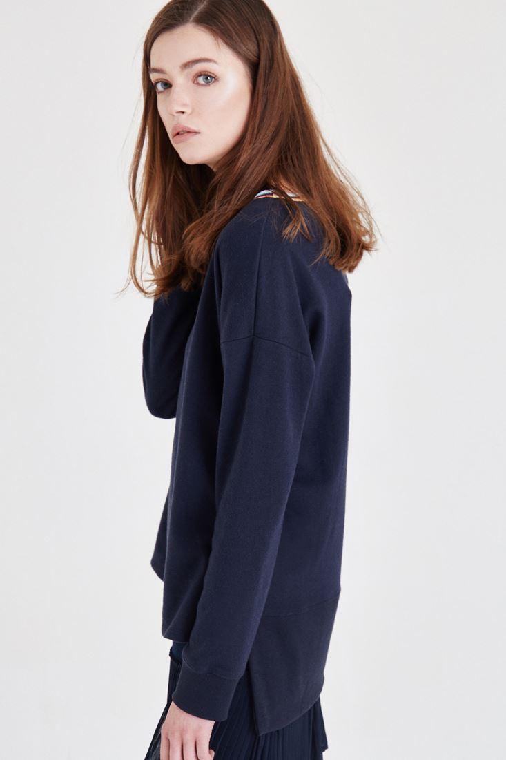 Bayan Lacivert Yaka Detaylı Sweatshirt