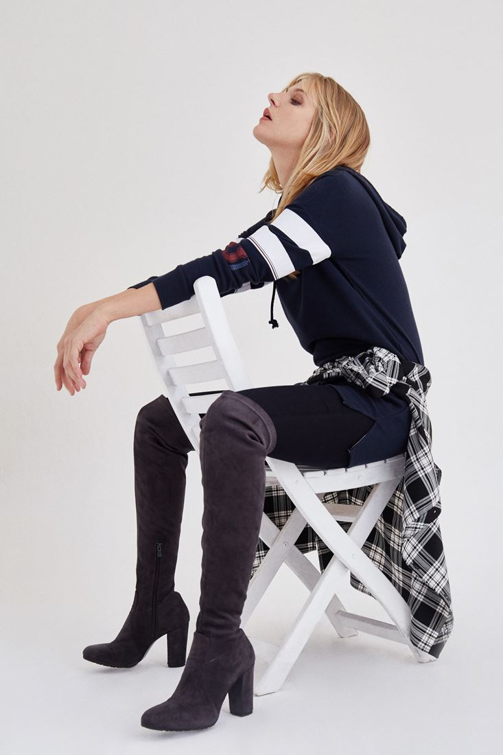 Lacivert Kapüşonlu Elbise