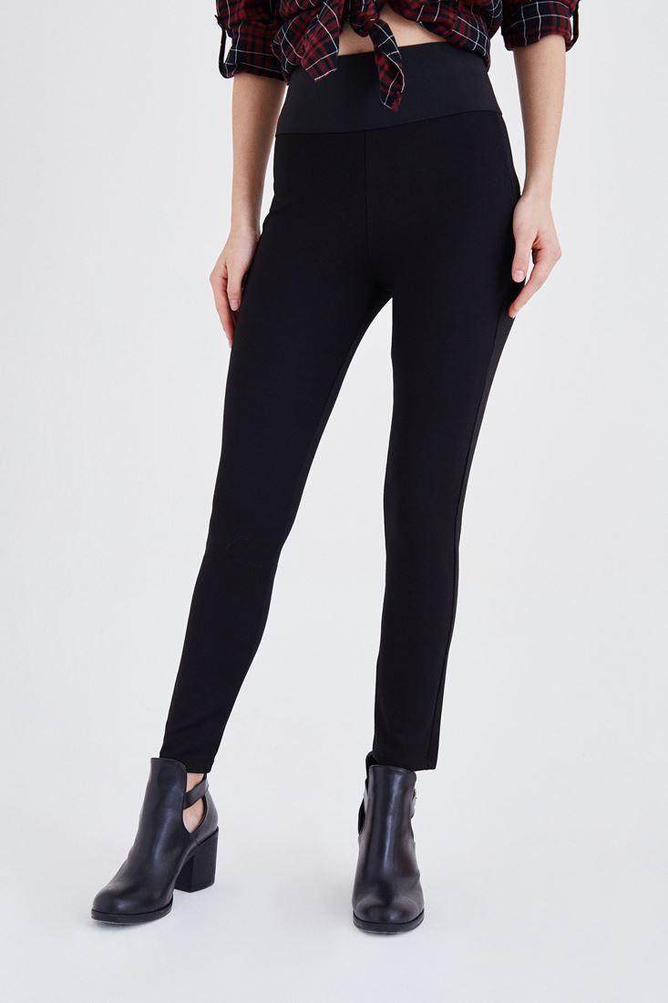 Siyah Beli Lastikli Tayt Pantolon