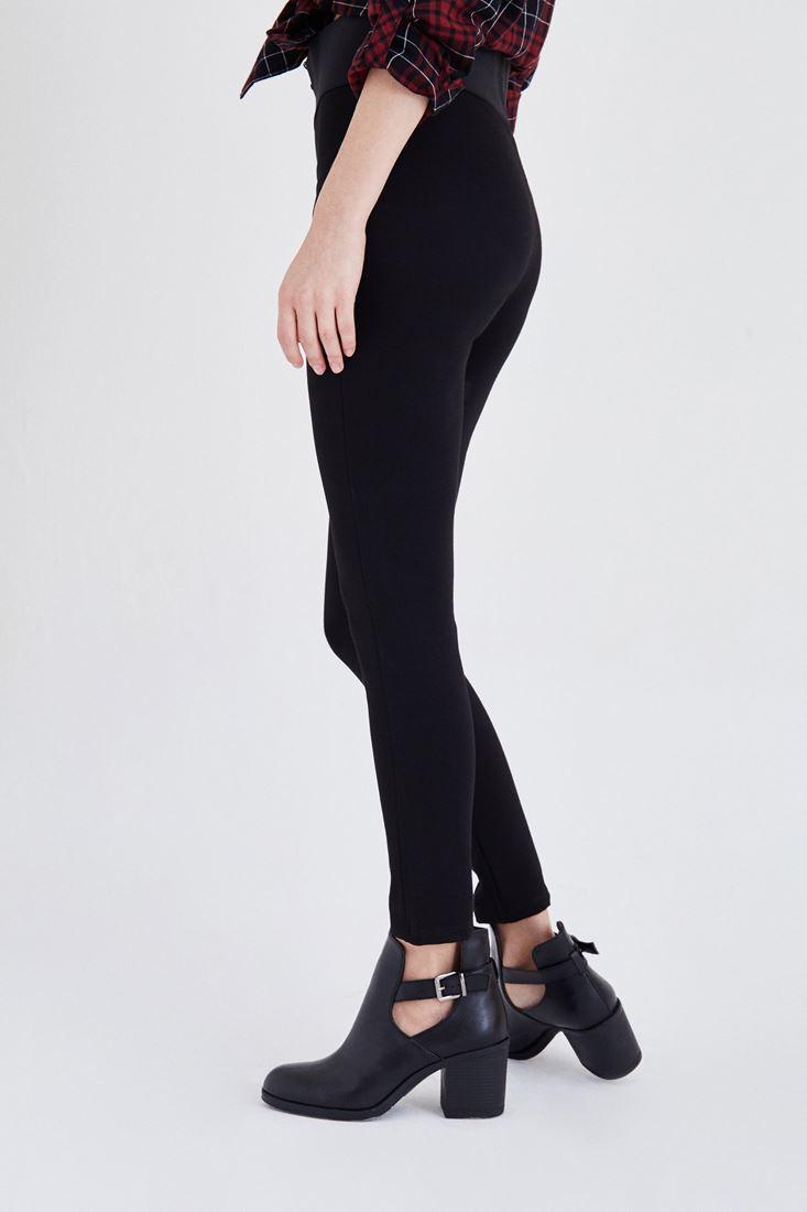 Bayan Siyah Beli Lastikli Tayt Pantolon