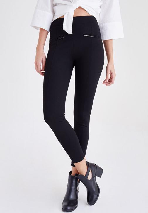 Siyah Fermuar Detaylı Tayt Pantolon