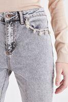 Bayan Krem Düşük Bel Yıkamalı Pantolon